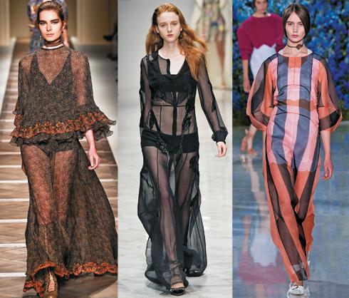 Прозрачные ткани были замечены у Balmain, Etro, Christian Dior и других дизайнеров