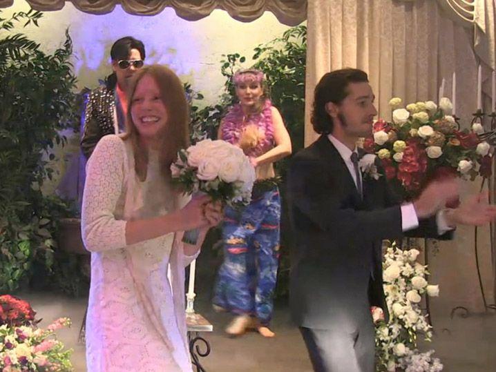 Миа гот и шайа лабаф свадьба фото