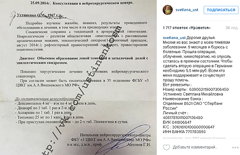 В прошлом году Светлана Устиненко даже собирала деньги на лечение