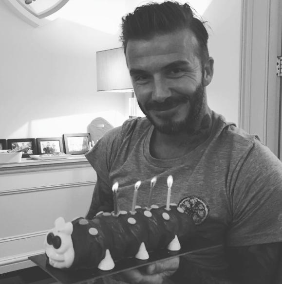 Дети подарили Дэвиду торт в виде гусеницы