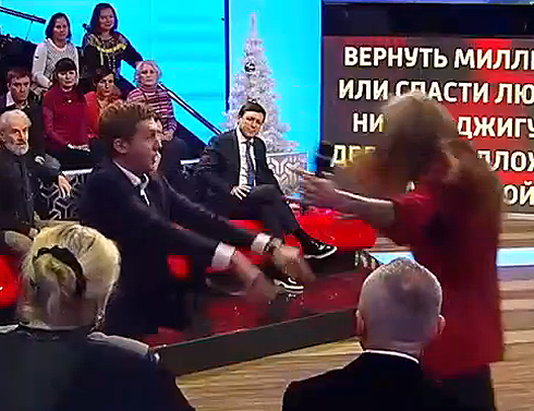 Супруг фигуристки Анисиной Джигурда попытался побудить ведущего «России 1» надраку