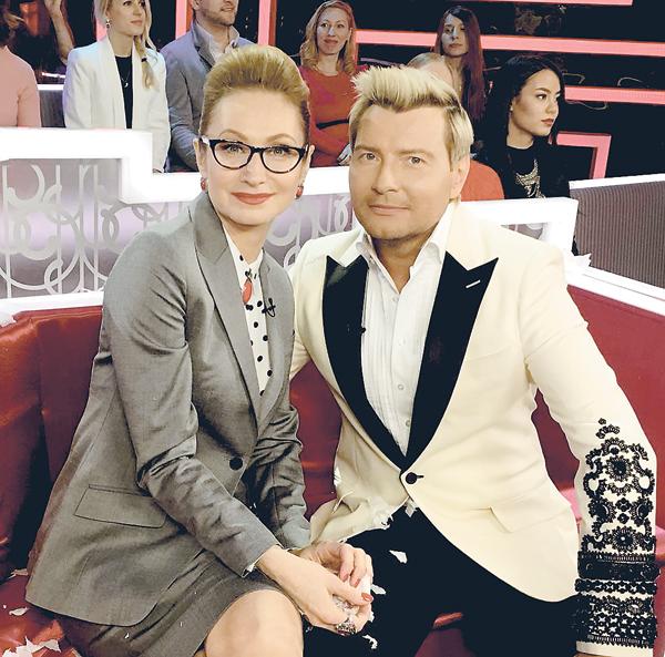 С Николаем Басковым на съемках программы «Субботний вечер»