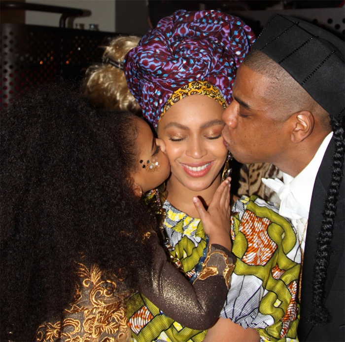 Beyonce and Blue Ivy wear blossoms in hair on family