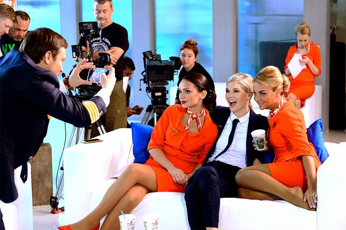С Натальей Бардо и Дарьей Сагаловой на съемках